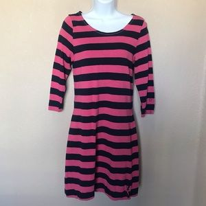 Hatley blue pink striped fit and flare dress med